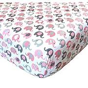 Vera Elephant 100% Cotton Crib Fitted Sheet (Petal Grey)