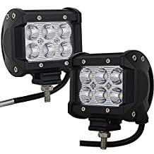 "Willpower 4"" inch 18W Spot Led Work Light Bar Lamp For Off-Road SUV ATV Boat 4X4 Jeep Lamp 4WD Truck,2 Pcs"