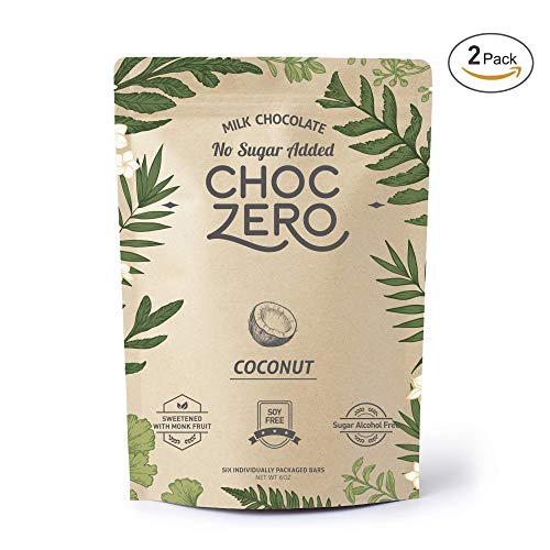 ChocZero's Keto Bark, Milk Chocolate Coconuts, No Added Sugar, Low Carb, No Sugar Alcohols, Non-GMO (2 bags, 6 servings/each)