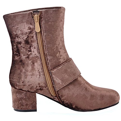 AIYOUMEI Womens Suede Side Zipper Round Toe Block Heel Autumn Winter Ankle Boots With Buckle Brown oEoYBFFLH5