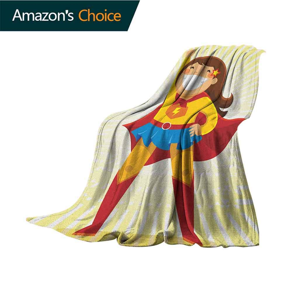 Superhero Puppy Blanket,Courageous Little Girl with a Big Smile in Costume Standing in a Heroic Position Soft,Fuzzy,Cozy,Lightweight Blankets,50'' Wx70 L Multicolor