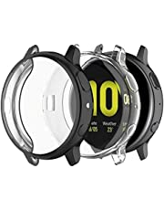 JOYAUS (2 Pack) Case for Samsung Galaxy Watch Active 2 44mm, Full Body Screen Protector Case TPU All-Around Slim Soft Full Cover for Samsung Galaxy Watch Active 2 44mm R820 (Black+Transparent)