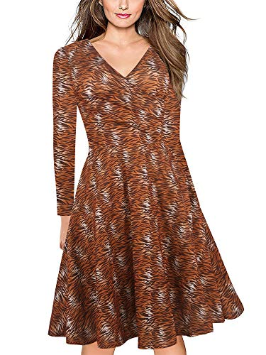 oxiuly Women's Vintage Classic Tiger Stripe Criss-Cross Full Sleeve Work Party Cocktail Swing Casual Dress OX233 (2XL, Tiger Stripe 9) ()
