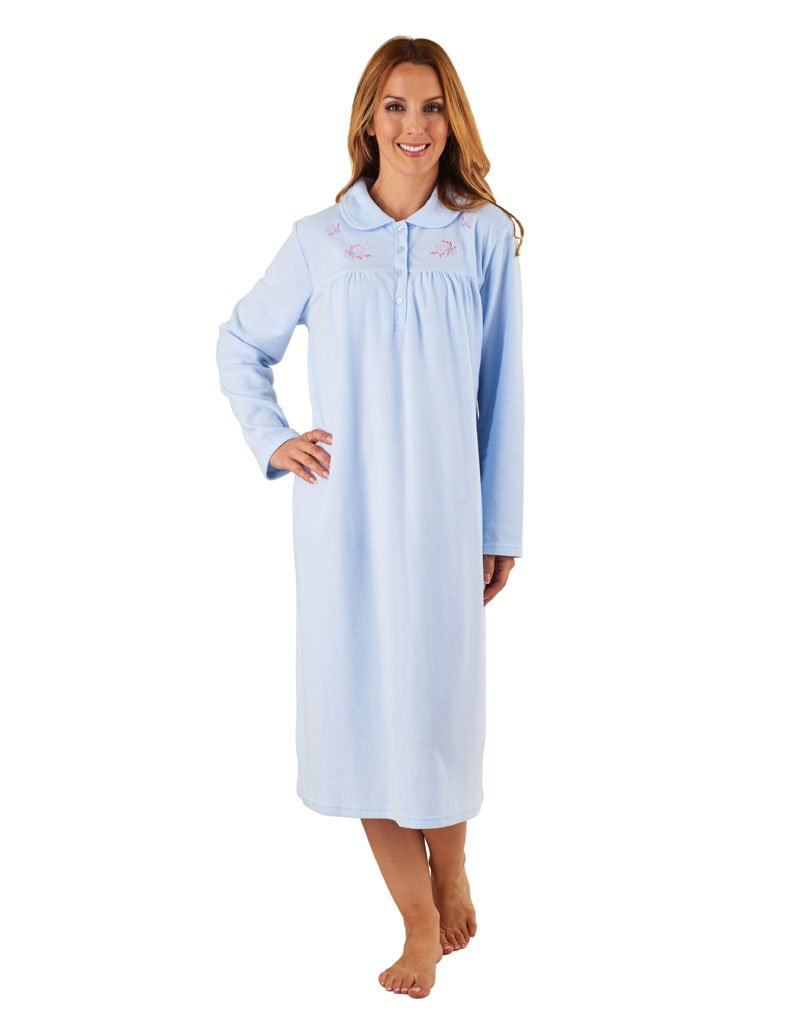 Slenderella ND8126 Women's Blue Long Sleeve Night Gown Nightdress