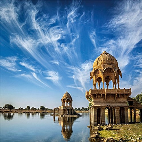 CSFOTO 4x4ft Background for Gadi Sagar in Rajasthan Photography Backdrop Indian Landmark Famous Architecture Ancient Building Lake Palace Vacation Tourist Photo Studio Props Polyester Wallpaper