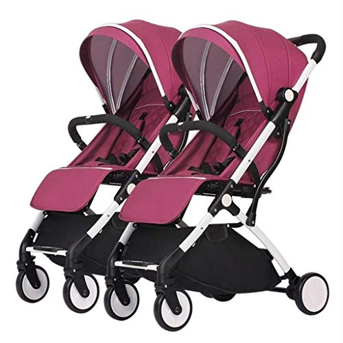 XZHSA Double Stroller | Lightweight Double Stroller with Tandem Seating (Color : Fuchsia)