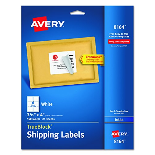 """Avery  Shipping Labels with TrueBlock Technology for Inkjet Printers 3-1/3"""" x 4"""", Pack of 150 (8164)"""