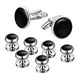 Mens Cufflinks and Studs Set for Tuxedo Dress Shirt - Wedding Business Party Accessories