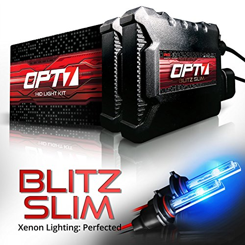 OPT7 Blitz Slim H7 HID Kit - 3.5X Brighter - 4X Longer Life - All Bulb Sizes and Colors - 2 Yr Warranty [10000K Deep Blue Xenon Light]