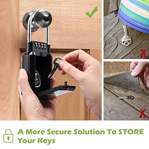 Key Storage Lock Box Wall Mounted Key Holder with 4 Digit Combination Security Storage Organizer Lock6