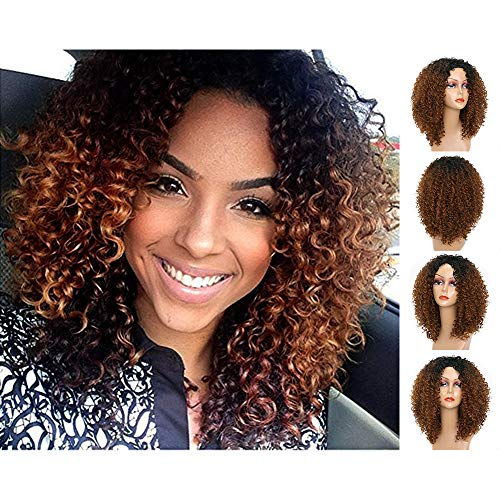 Brown Ombre Wigs Afro Curly Synthetic Colorful Cosplay Daily Party Wig for Women 14