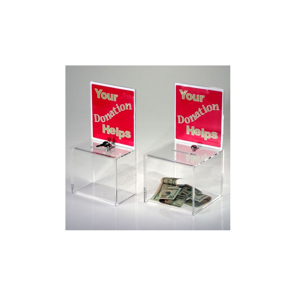 Clear Solutions Clear 8'' Donation Box w/Sign Holder & Lock