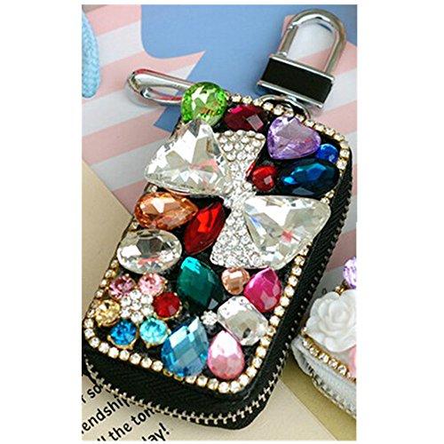 EVTECH(TM) Universal Car Smart Key Chain Leather Holder Cover Case Fob Remote 3D Handmade Luxury Shining Glitter Crystal Diamond Rhinestones (100% Handcrafted)