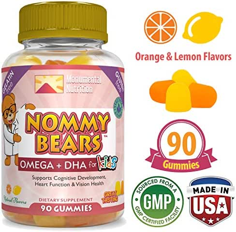 Omega 3, 6, 9, DHA Vegetarian Gummies (90 ct) for Kids by Nommy Bears •Vegan-Friendly •Halal/Kosher Friendly •Boys, Girls, Toddlers, Children •Mommy Approved •Drop Shapes •Citrus Flavors