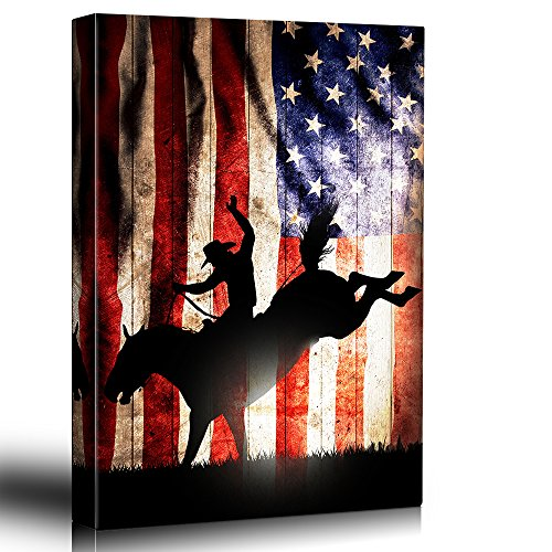 wall26 - Patriotic Bucking Bronco Rider Silhoutte - Rodeo Country Western Artwork - Wood Grain Texture Rustic Art - Canvas Art Home Decor - 24x36 ()
