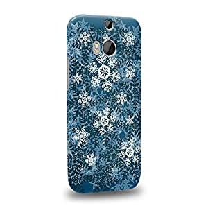 Case88 Premium Designs Art Winter Design Snowflakes Protective Snap-on Hard Back Case Cover for HTC One M8