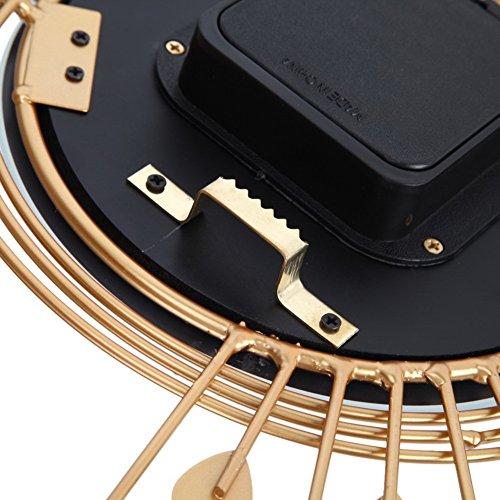Chinatera 3D Luxury Large Metal Wall Clocks Diamond Peacock Art Wall Decor Clock (Gold)
