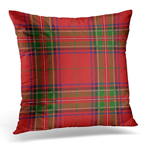 Aportt Yitlon8 Throw Pillow Covers Red Checkered Clan Stewart Scottish Royal Tartan Plaid Stuart Decorative Pillow Case Home Decor Square 18W X 18L Pillowcase -