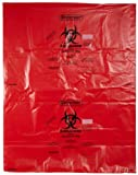 Bel-Art F13165-3748 Polypropylene 40-50 Gallon Super Strength Red Biohazard Disposal Bags with Warning Label/Sterilization Indicator, 37W x 48 in. H, 2.0mil Thick (Pack of 200)