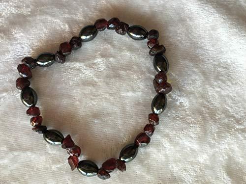 - natural hematite rice and garnet chip gemstone beaded stretch bracelets