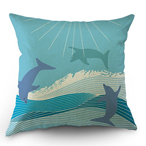 134 Cotton Cover (Moslion Dolphin Pillow Case Whale Pillow Cover Dolphins Shark Jump to Sea Throw Pillow 18x18 inch Cotton Linen Toddler Pillow Square Cushion Decorative Cover Happy New Year for Sofa Bed Blue)