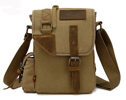 Izacu Lona bolso mensajero bolsa para hombre bolso de escuela (coffee, 17*6*24cm) Khaki