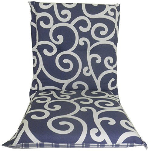 Cuscino reversibile per Giardino Mobili / Sedia a sdraio / reclinabile con schienale basso, Blu Barocco & Patterns Controllato beo B112/B113 Ascot NL