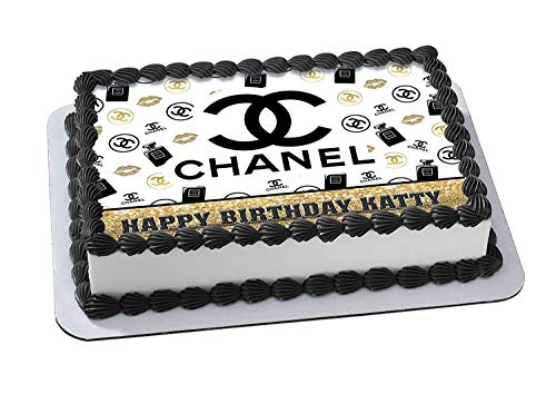 Chanel Edible Cake Topper Personalized Birthday 1/2 Size Sheet Decoration Party Birthday Sugar Frosting Transfer Fondant Image