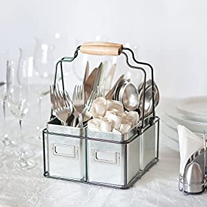 Cute Galvanized Tin Caddy Kitchen Utensil Holder. Adorable Farmhouse Vintage Rustic Decor or Picnic Tray with Handles