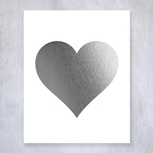 Silver Foil Heart Print Wall Art Modern Heart Decor Love Nursery Room Poster 8 inches x 10 inches A32 (Modern Heart Silver)