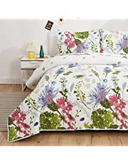 Lightweight Thin Multicolor Botanical Bedspread Coverlet Set Twin Size Breathable Blue Purple Green White Flower Plant Garden Quilts Bed Cover Floral Bedding with 2 Standard Random Pillow Shams