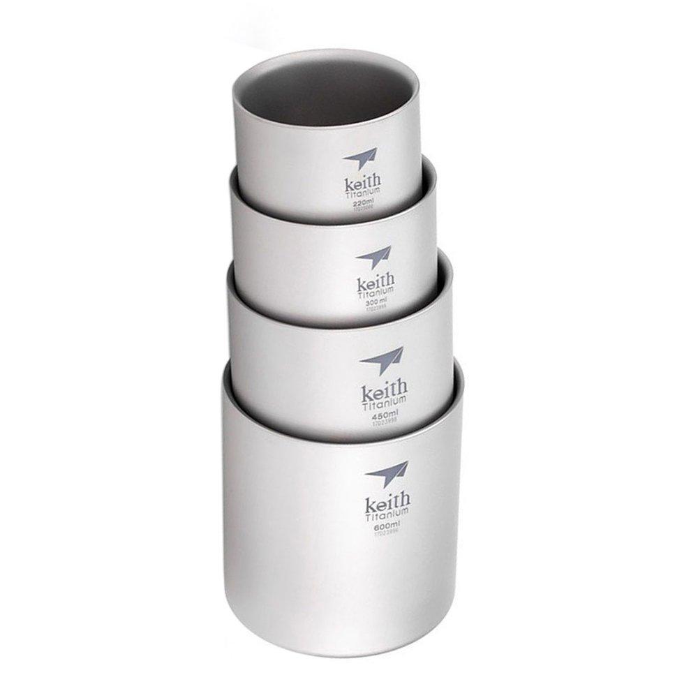 Keith チタニウム ダブルウォール マグカップ 220ml/300ml/450ml/600ml アウトドアキャンプ用 コップ 4個セット   B073GW79W1
