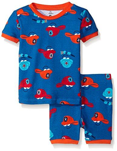 Sleeve 2 Piece Pajamas - Petit Lem Baby Boys' 2 Piece Sleeve Top and Short Pajama Set-Shark Fire Truck, Blue Denim, 12 Months