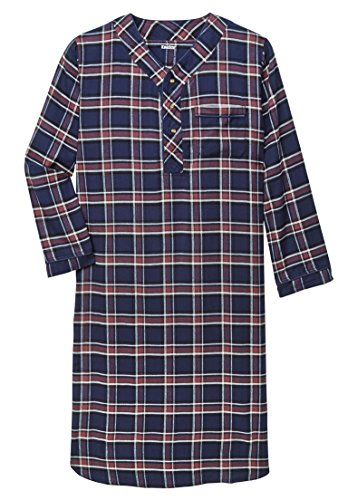 KingSize Men's Big & Tall Plaid Flannel Nightshirt, Purple Wood Plaid