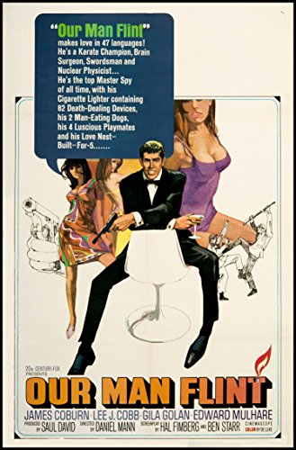Our Man Flint Fridge Magnet 6x8 James Coburn Movie Poster Magnetic Canvas Print by Fridge Magnet World