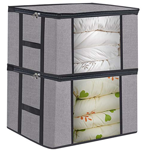 Foldable Large Comforter Storage Bags Organizers, Breathable Linen Closet Organizers for Blankets, Clothes, Create Extra Storage with Clear Window, Set of 2 Grey with Printing (Plastic Bedding Storage Bags)