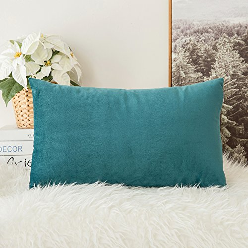 Miulee Velvet Soft Soild Decorative Square Throw Pillow Covers Cushion Case for Sofa Bedroom Car 12 x 20 Inch 30 x 50 Cm (Covers Pillow 12x12 Throw)