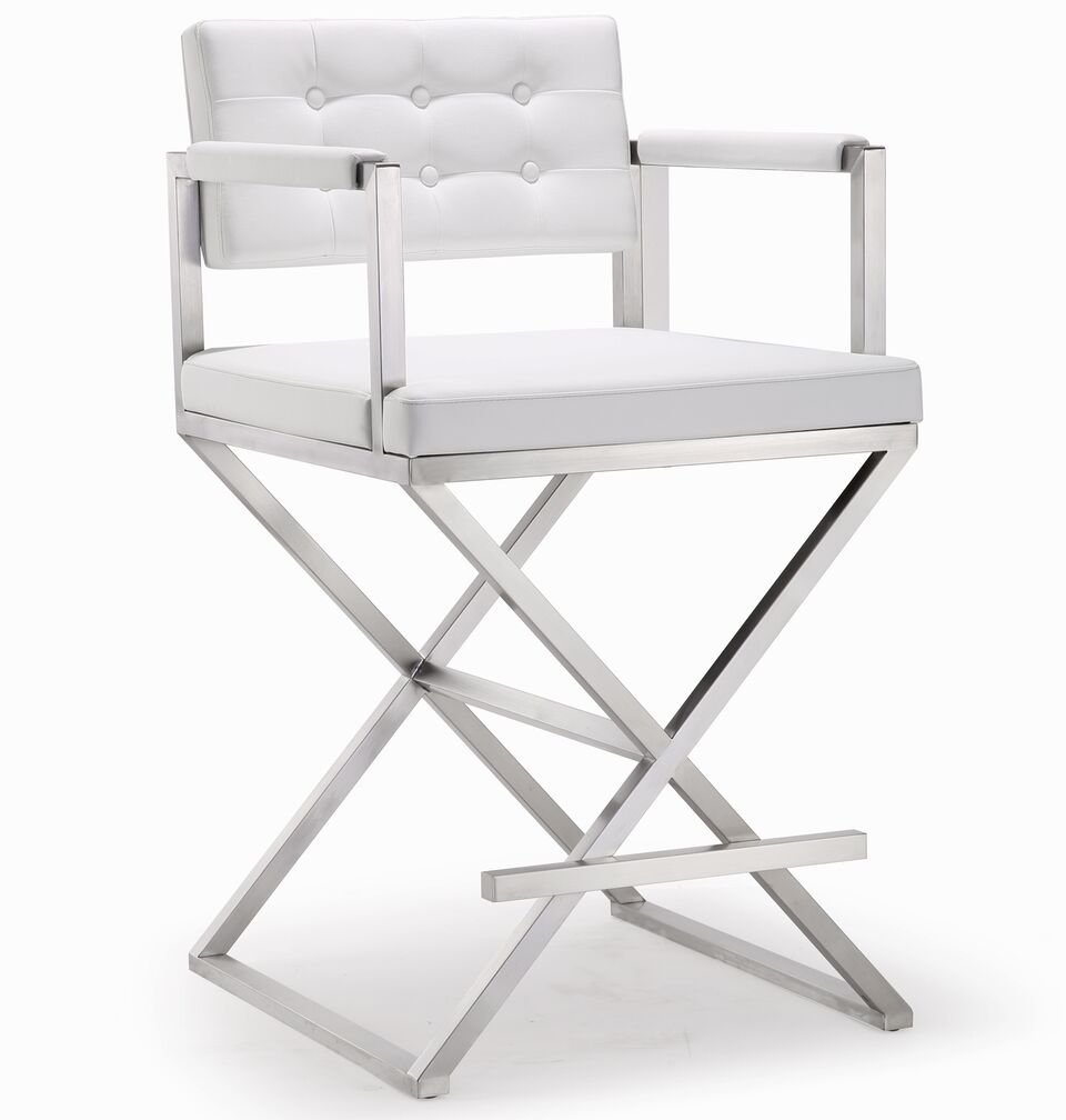 Tov Furniture The Director Collection Stainless Steel Metal Leather Upholstered Industrial Modern Counter Stool with Back & Arms, White