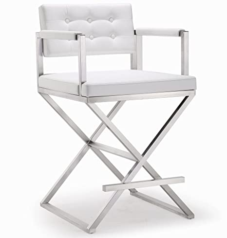 Fine Tov Furniture The Director Collection Stainless Steel Metal Leather Upholstered Industrial Modern Counter Stool With Back Arms White Unemploymentrelief Wooden Chair Designs For Living Room Unemploymentrelieforg