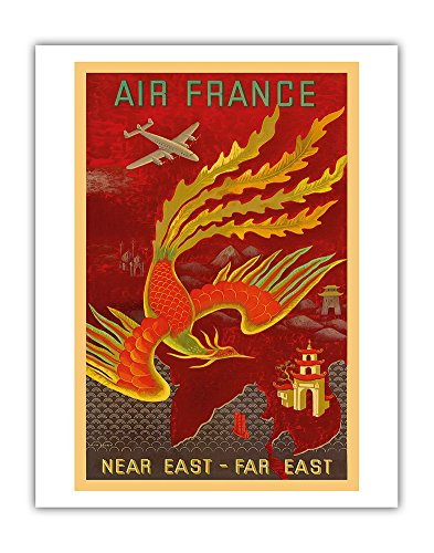 Near East, Far East - Lockheed Constellation flying to India, China and Japan - France - Vintage Airline Travel Poster by Lucien Boucher c.1947 - Fine Art Print - 11in x 14in