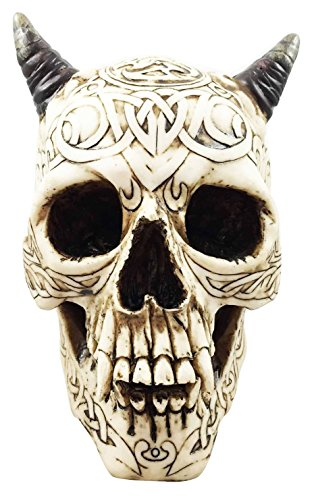 [Celtic Cream Demon Efreet Horned Skull Statue Halloween Spooky Decor 8