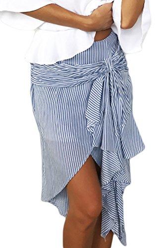 Las Mujeres Elegantes Faldas Casuales Rayas Irregulares De La Rodilla - Longitud De La Falda De Volantes Blue