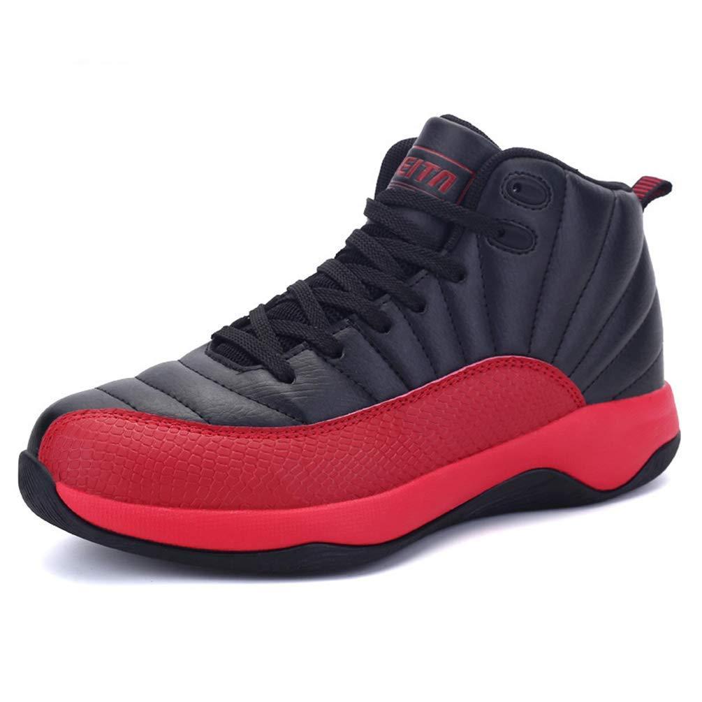 ZHRUI Herren Turnschuhe Basketball-Schuhe Anti-Slip Outdoor High-Top Blau Blau Blau Turnschuhe Schnürschuhe (Farbe   Schwarz Rot, Größe   7=40 EU) 38420a