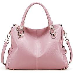 BIG SALE-AINIMOER Womens Genuine Leather Vintage Tote Shoulder Bag Top-handle Crossbody Handbags Large Capacity Ladies' Purse (Pink)