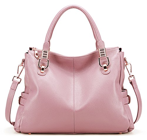 - AINIMOER Womens Genuine Leather Vintage Tote Shoulder Bag Top-handle Crossbody Handbags Large Capacity Ladies' Purse (Pink)