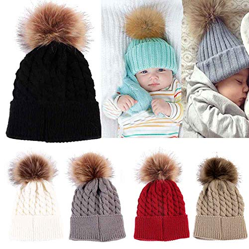Gbell Baby Newborn Winter Knitted Hat Pom Pom Infant Soft Hats Beanies for Baby Boys Girls 0-36 Months ()
