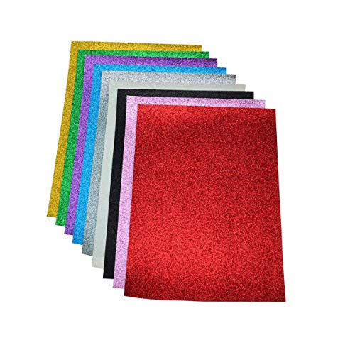 Faux Leather Glitter Canvas Sheets- 9 Pieces Assorted Colors A4 Size(8 X 12 Inch)Shiny Glitter Fabric Sheets for Bows, Earrings, Hair Accessories Making(9 Colors, Each Color One - Faux 12 Leather