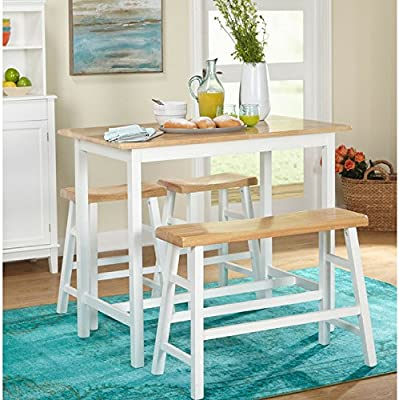 Simple Living 4 Piece Galena Modern Farmhouse Counter Height Dining Table Set