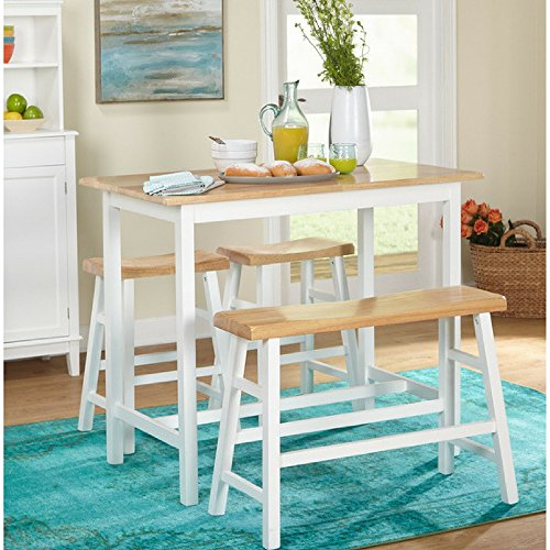 Simple Living 4-piece Galena Modern Farmhouse Counter Height dining table set