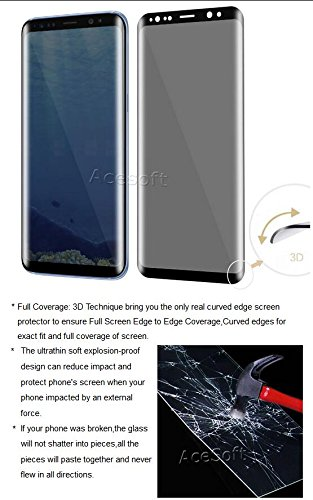 Premium 3D Curved Anti-Scratch Wear-Resisting Shockproof Privacy Anti-Peep Tempered Glass Screen Protector Guard Shield Saver Armor Cover for Samsung Galaxy S8 SM-G950U Android phone by SodaPop (Image #2)